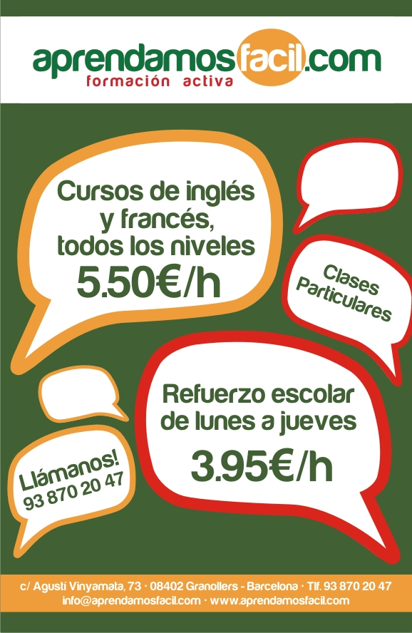 CLASES DE INGLÉS TODO EL AÑO GRANOLLERS
